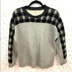 Madewell | Buffalo Plaid Gray Pullover Sweater